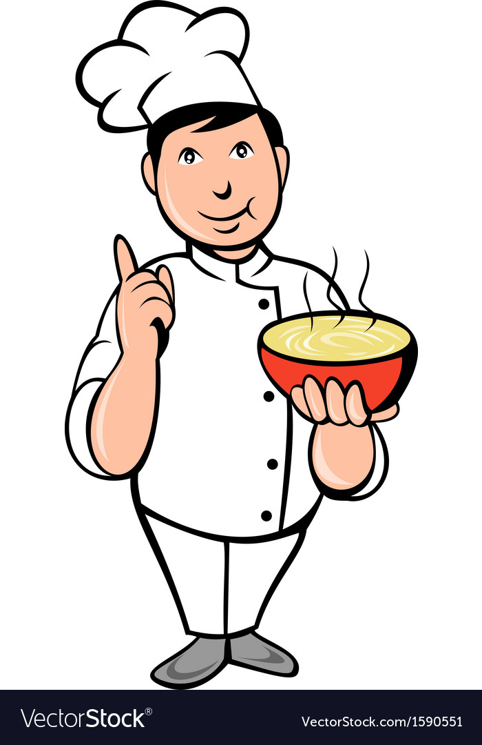 Cartoon chef cook with bowl of soup vector | Price: 1 Credit (USD $1)