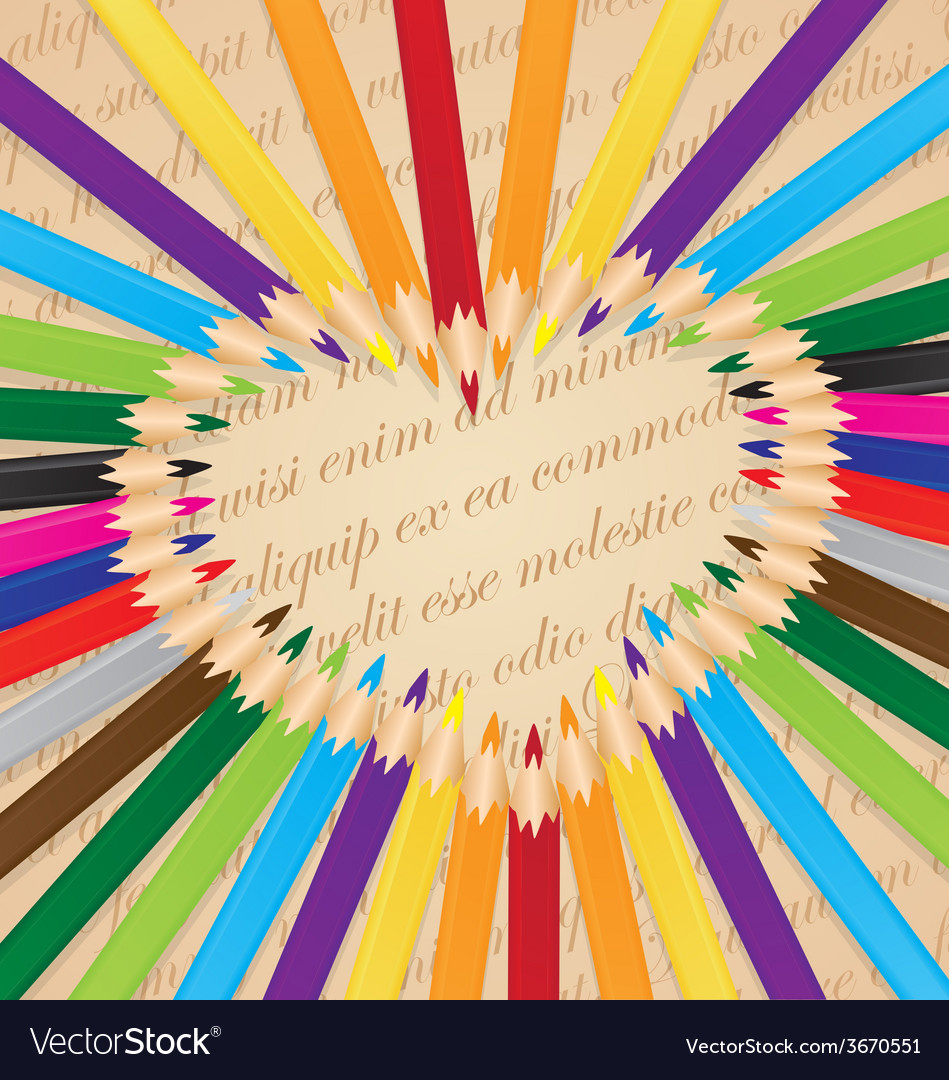Colorful pencils arranged in a heart background vector | Price: 1 Credit (USD $1)