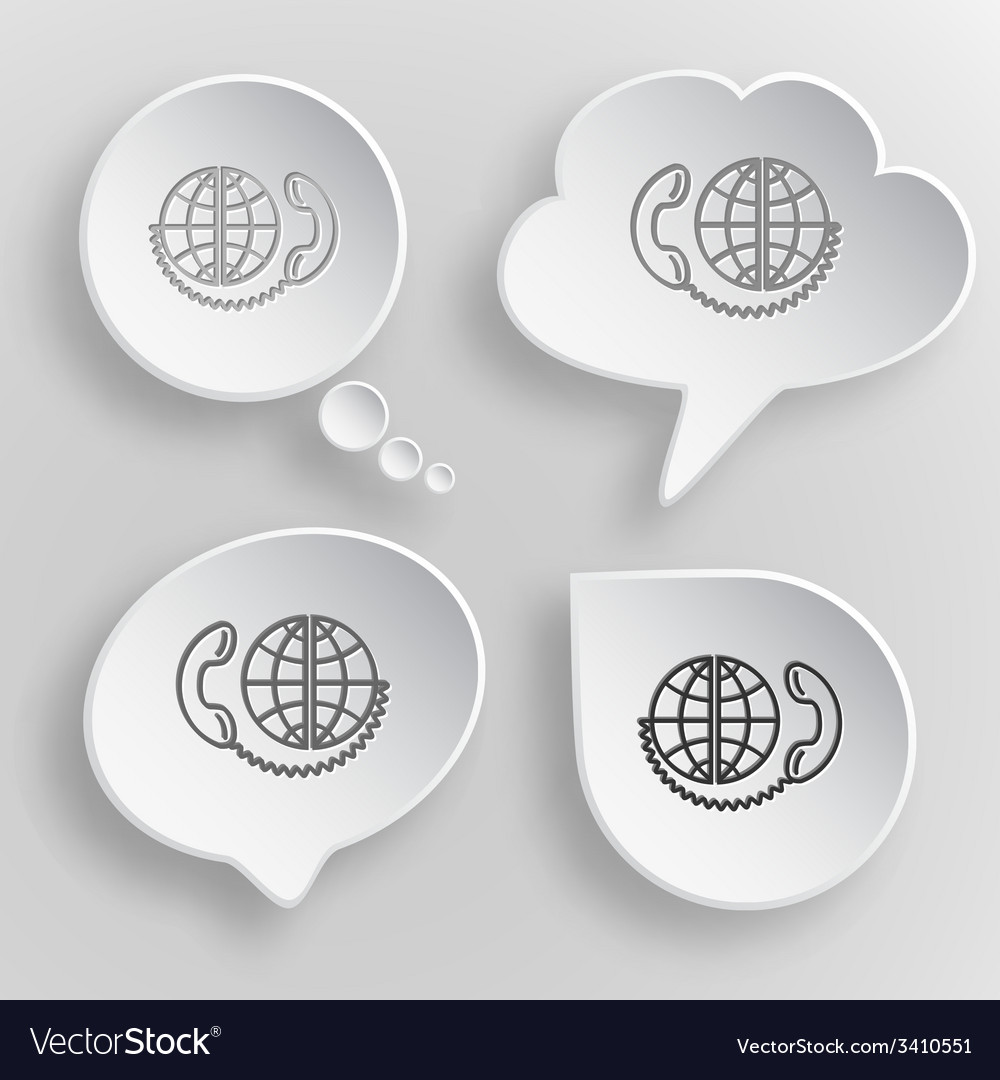 Global communication white flat buttons on gray vector | Price: 1 Credit (USD $1)