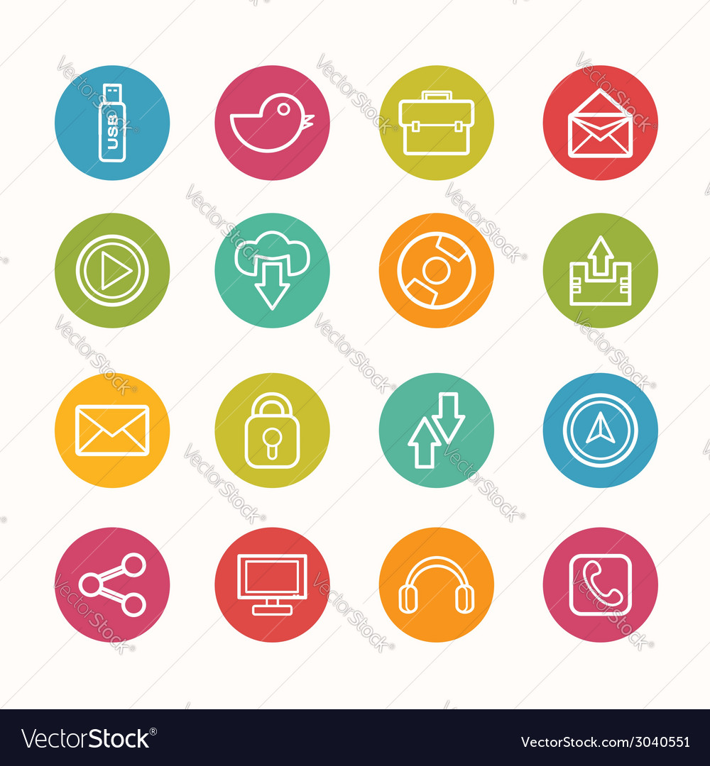 Icons set circle series - eps10 vector | Price: 1 Credit (USD $1)