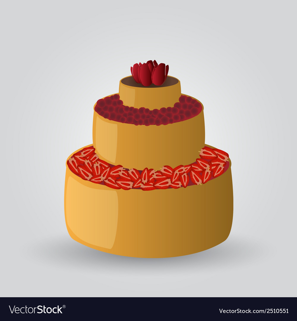 Layer cake with strawberries and cherries eps10 vector | Price: 1 Credit (USD $1)
