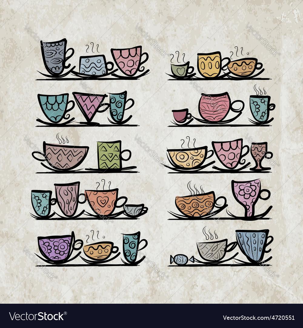 Ornate mugs on shelves grunge background vector   Price: 1 Credit (USD $1)