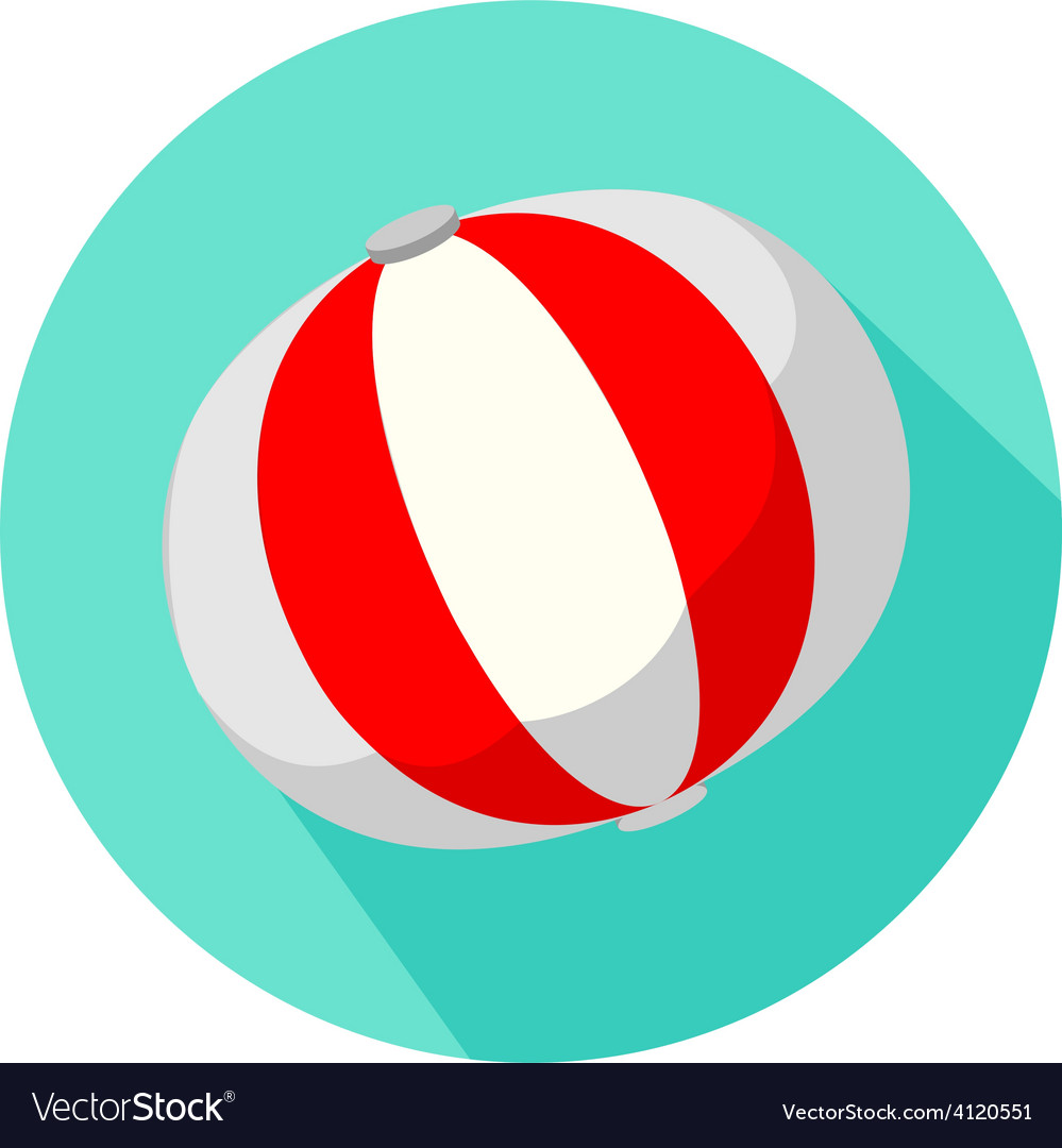 Red and white beach ball isolated vector   Price: 1 Credit (USD $1)