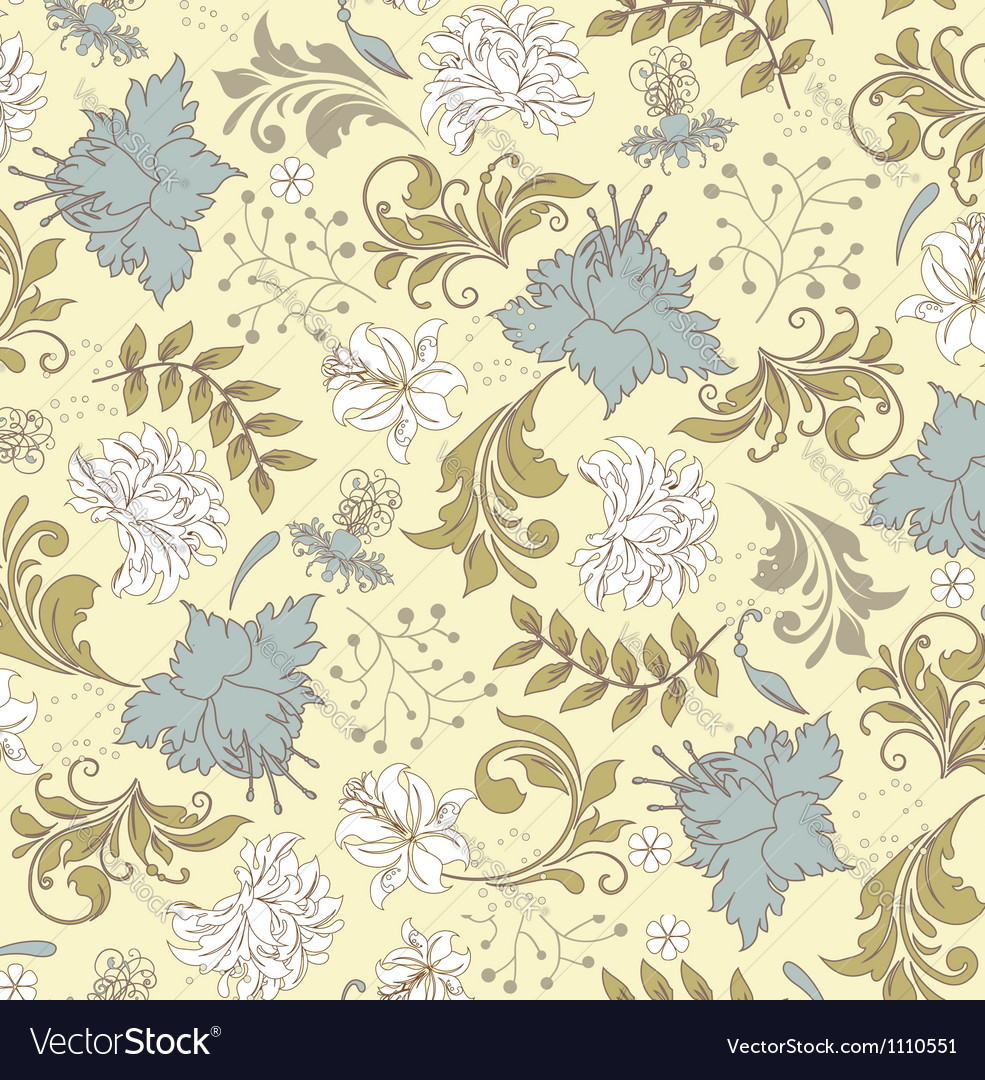 Seamless pattern with floral ornament vector | Price: 1 Credit (USD $1)