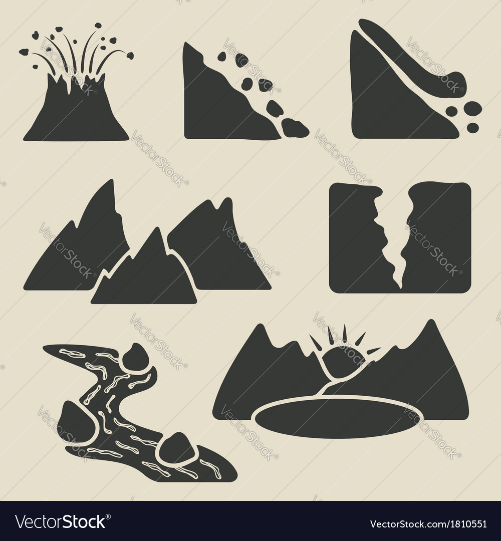 Set of mountains icons vector | Price: 1 Credit (USD $1)