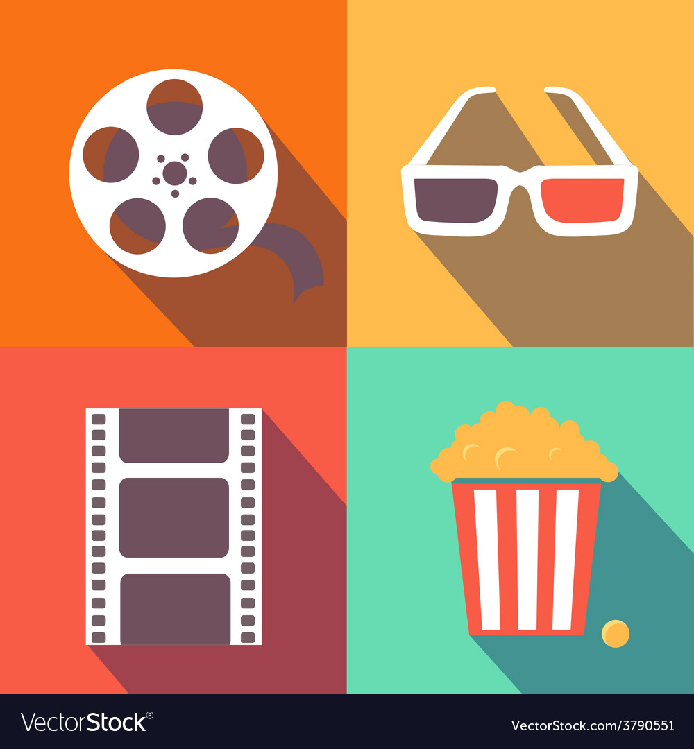 Set of movie design elements and cinema icons flat vector | Price: 1 Credit (USD $1)