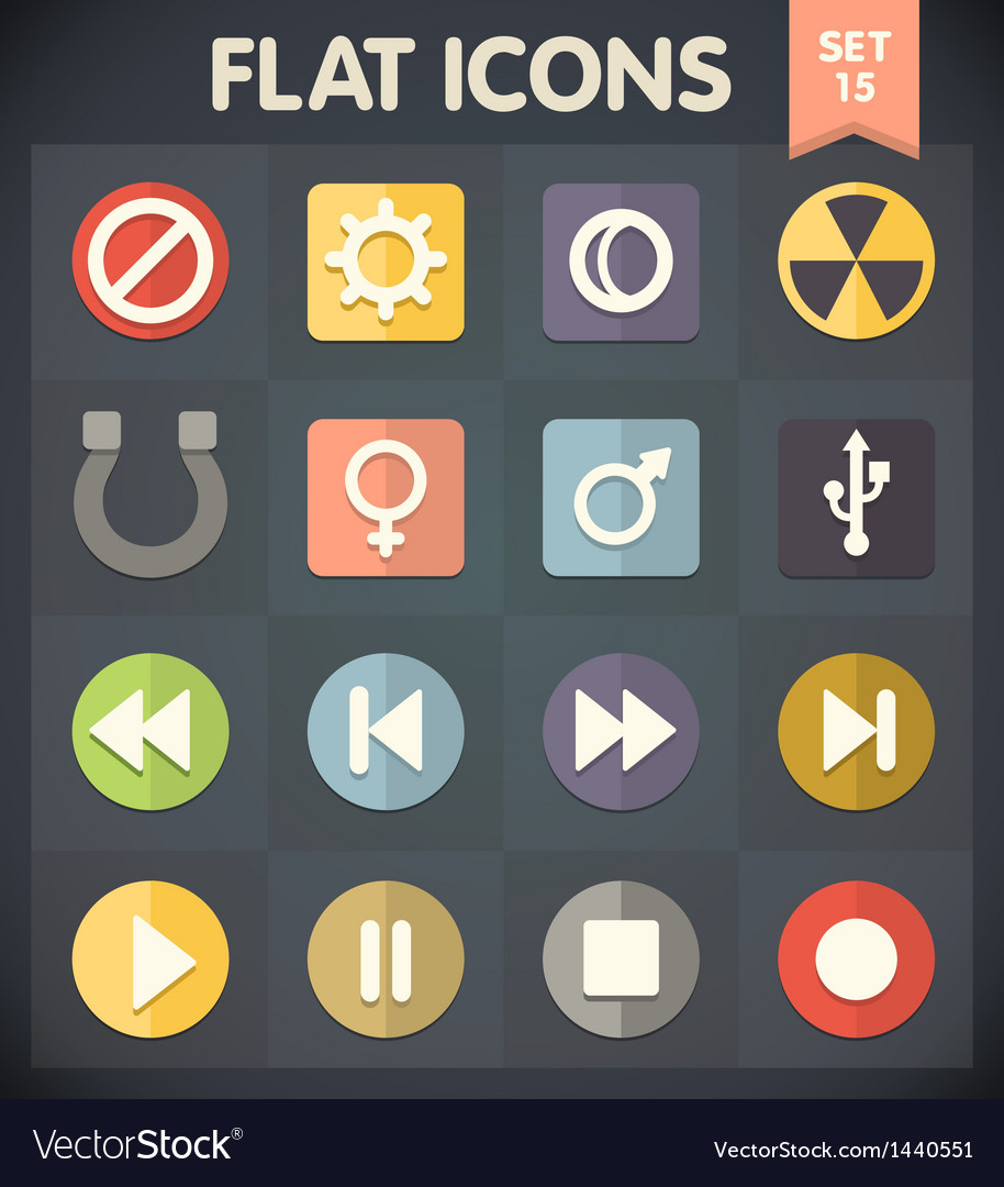 Universal flat icons for applications set 15 vector   Price: 1 Credit (USD $1)