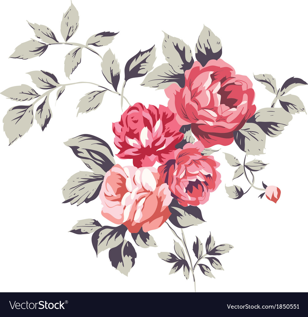 Vintage pink roses vector | Price: 1 Credit (USD $1)