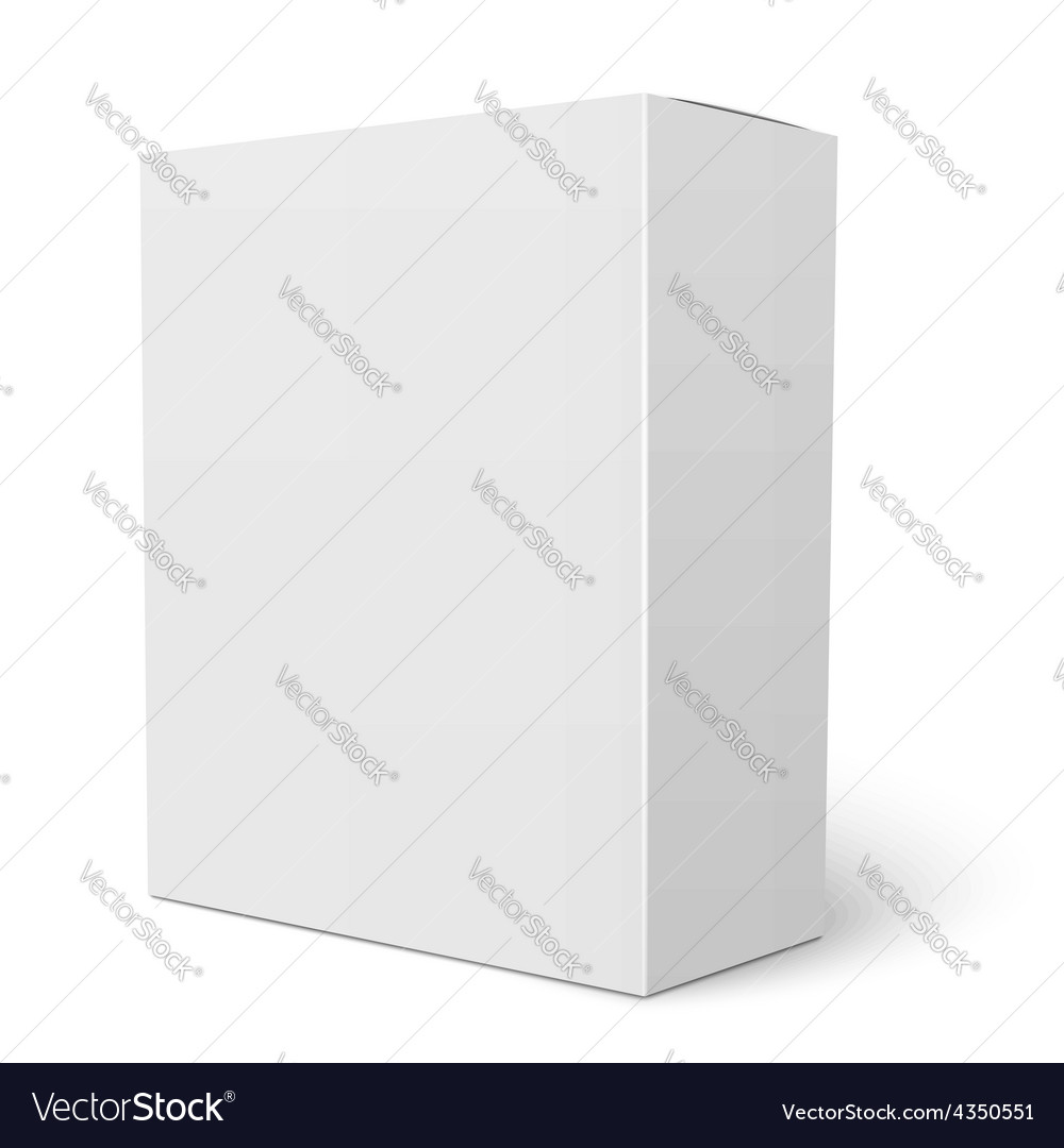 White vertical cardboard box template vector