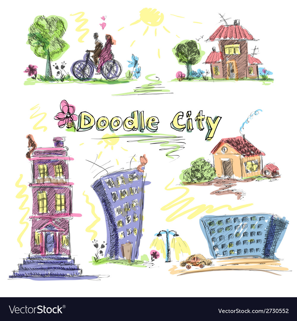 City doodle set colored vector | Price: 1 Credit (USD $1)