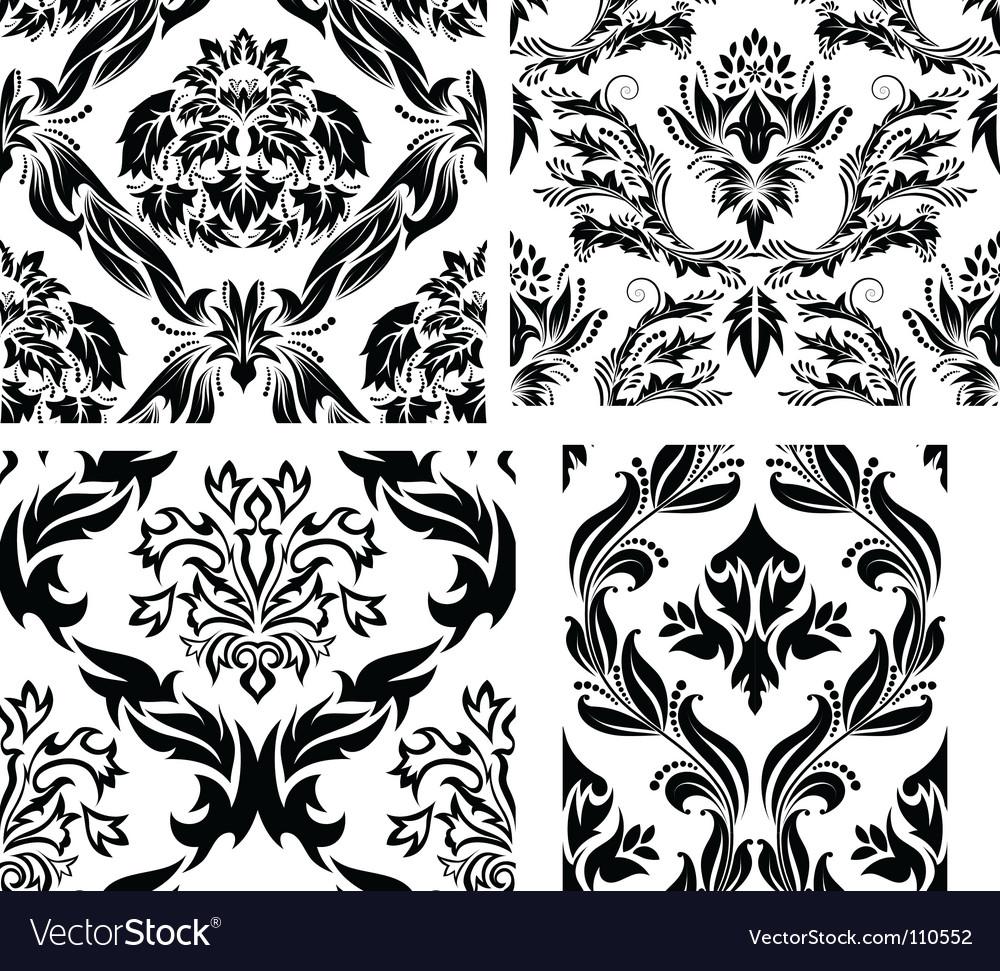 Damask patterns set vector   Price: 1 Credit (USD $1)
