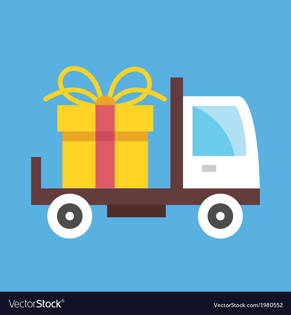 Delivery truck and gift box icon vector | Price: 1 Credit (USD $1)