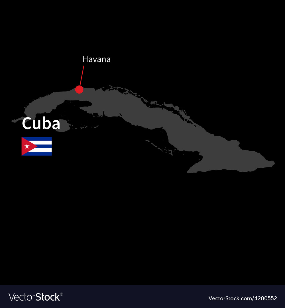 Detailed map of cuba and capital city havana with vector | Price: 1 Credit (USD $1)