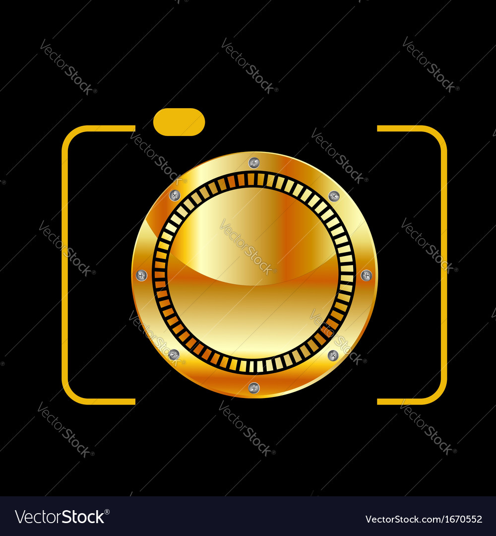 Golden digital camera vector | Price: 1 Credit (USD $1)