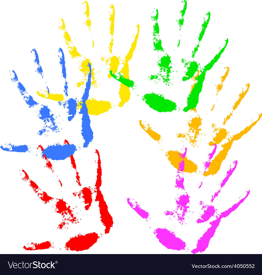 Hand print rainbow colors skin texture pattern vector | Price: 1 Credit (USD $1)