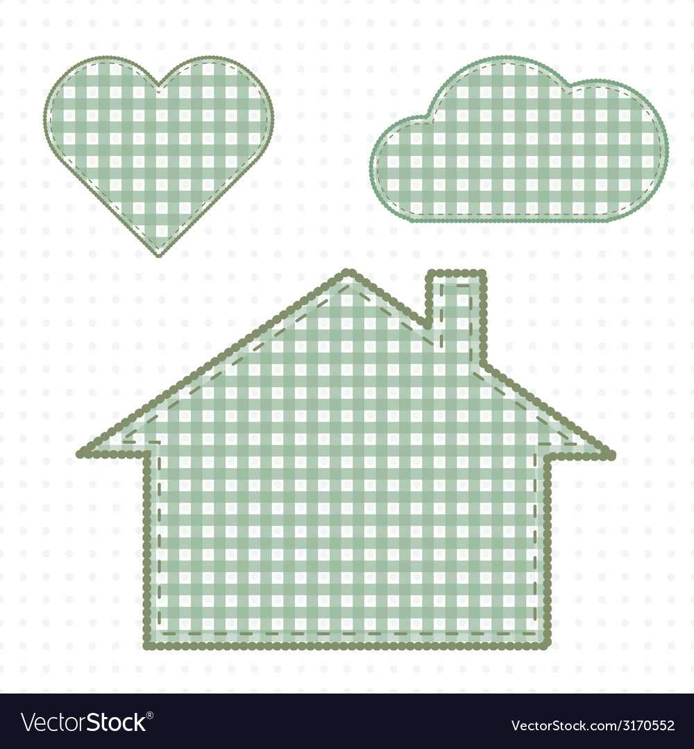 House and heart needlework cute baby style vector | Price: 1 Credit (USD $1)
