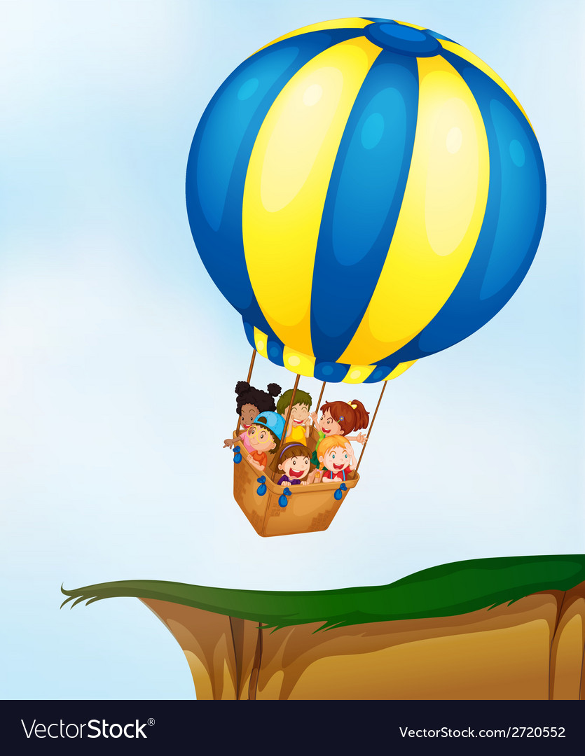 Kids in balloon vector | Price: 1 Credit (USD $1)