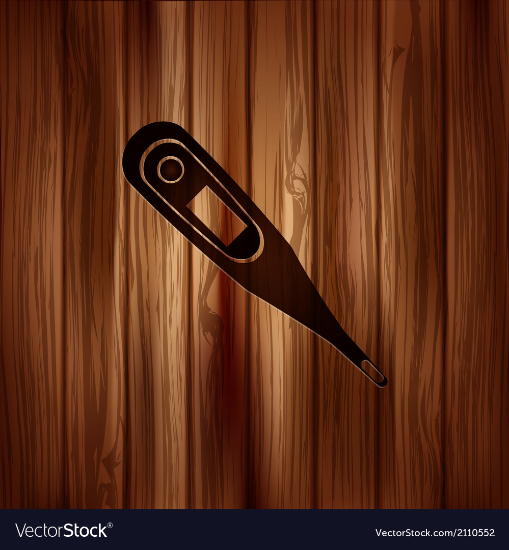Medical thermometer web icon wooden texture vector | Price: 1 Credit (USD $1)