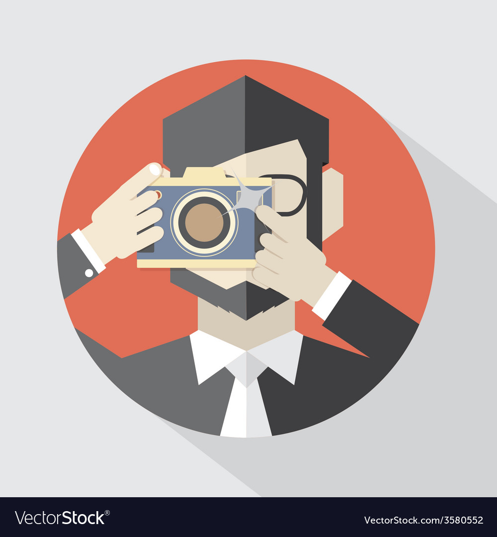 Modern flat design camera man vector | Price: 1 Credit (USD $1)