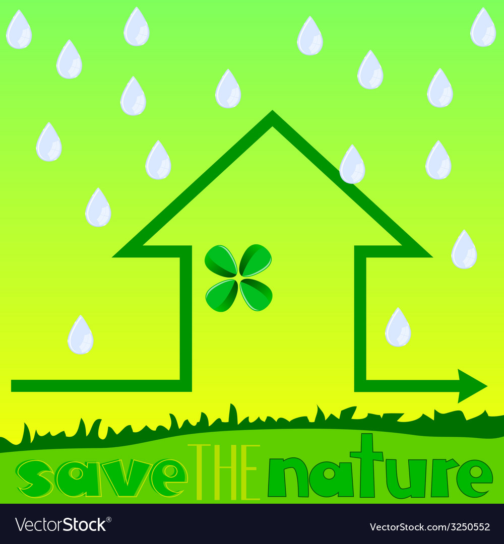 Save the nature with rain vector | Price: 1 Credit (USD $1)