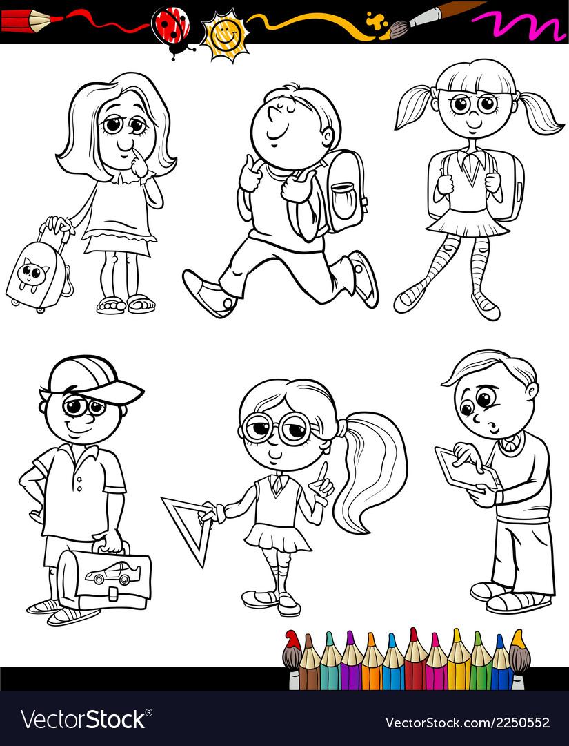 School kids group cartoon coloring book vector | Price: 1 Credit (USD $1)