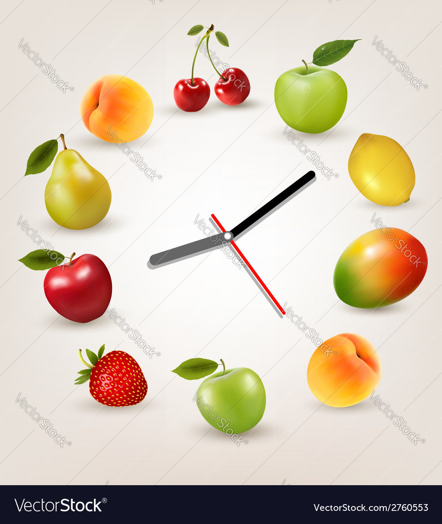 Clock with fruit diet time concept vector | Price: 1 Credit (USD $1)