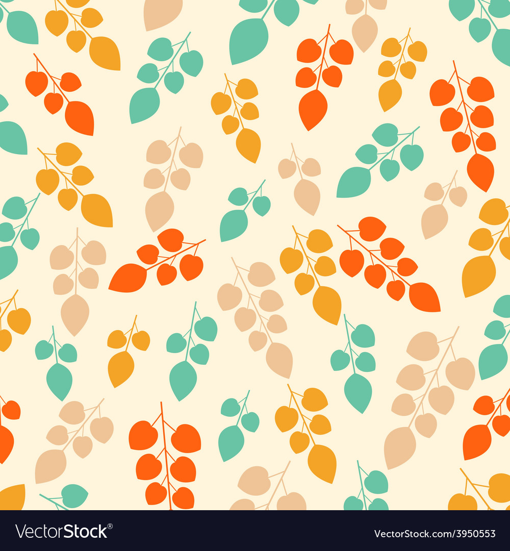 Colored seamless pattern on leaves theme autumn vector | Price: 1 Credit (USD $1)
