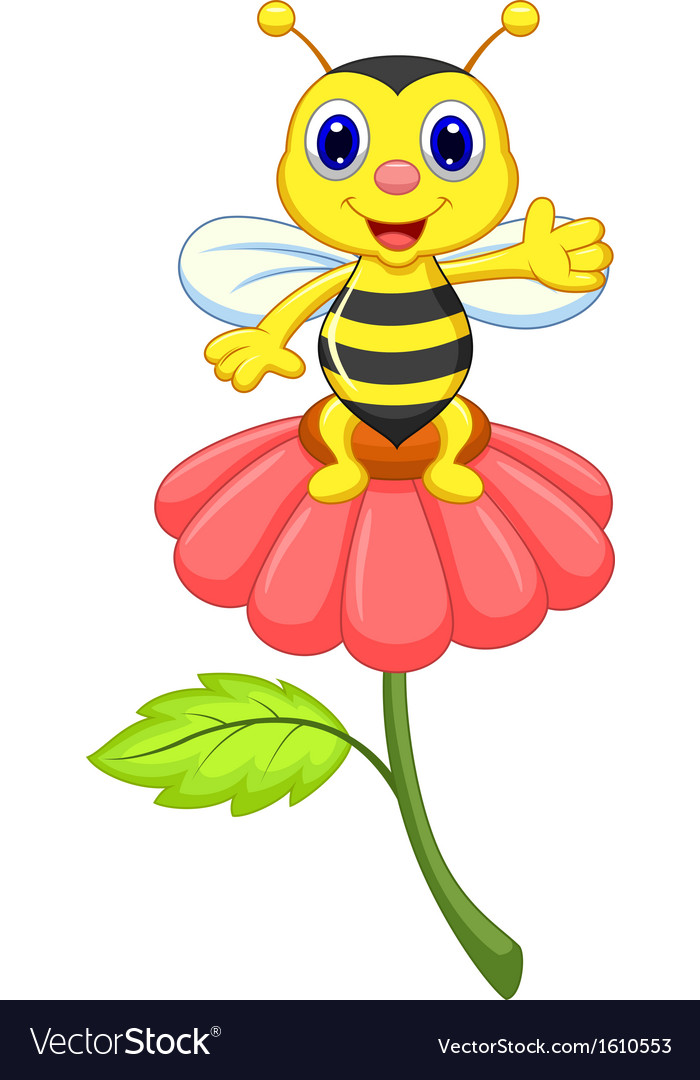 Cute little bee cartoon on red flower vector | Price: 1 Credit (USD $1)