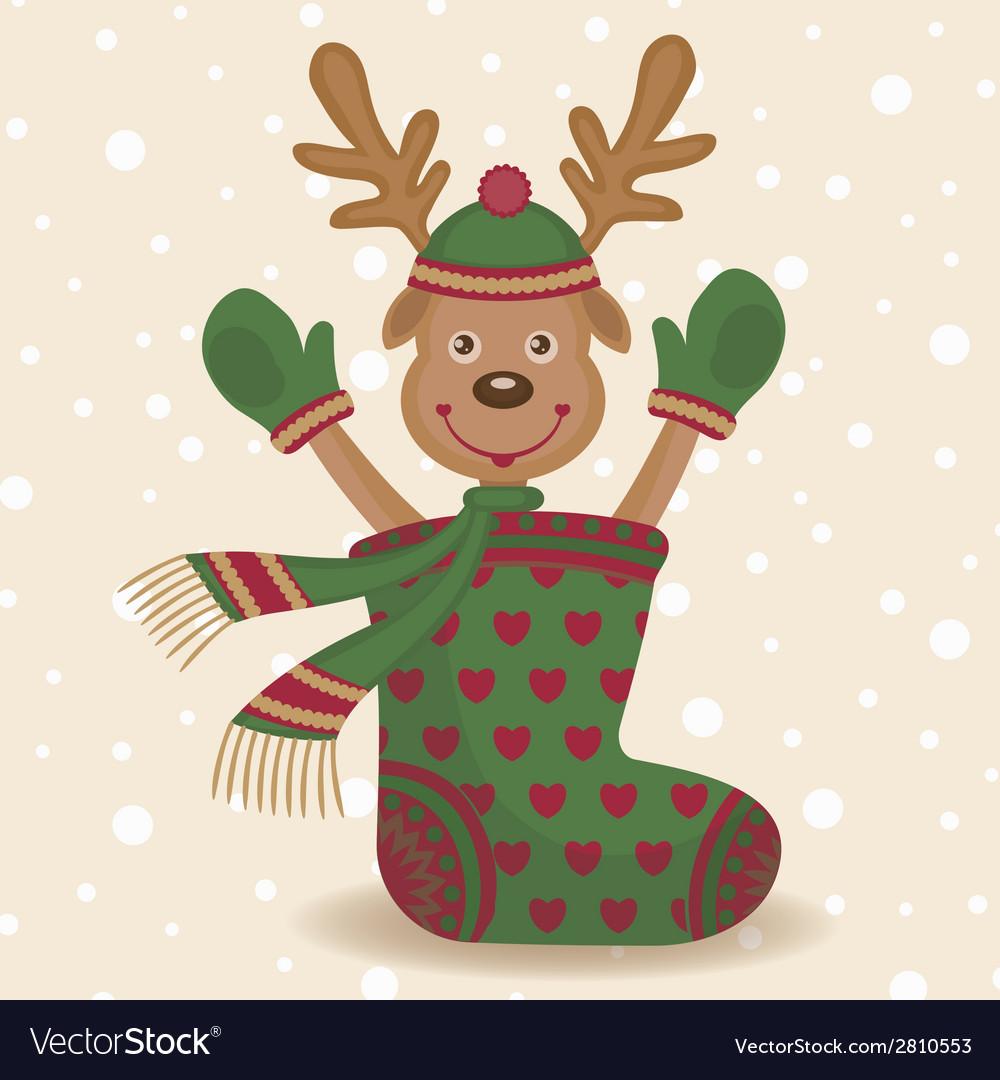 Cute reindeer and sock vector | Price: 1 Credit (USD $1)