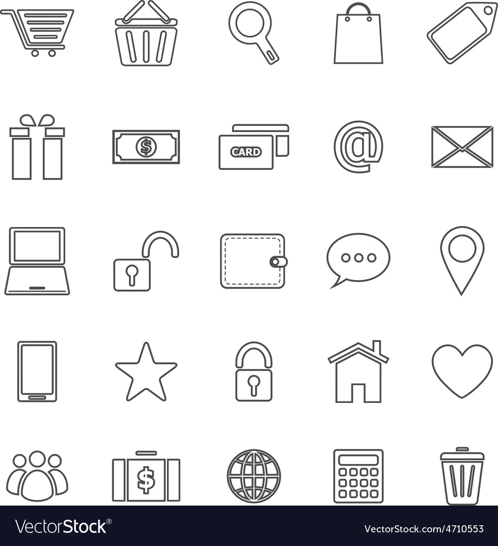 Ecommerce line icons on white background vector | Price: 1 Credit (USD $1)