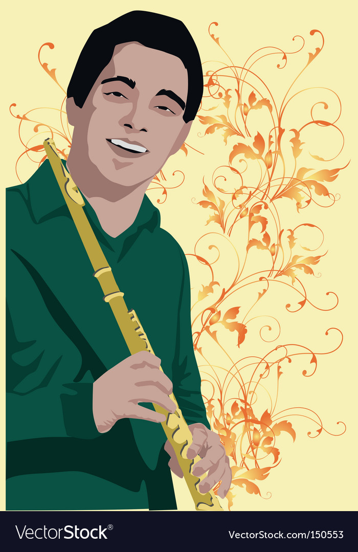 Flute man vector | Price: 1 Credit (USD $1)