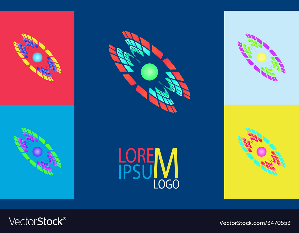 Futuristic logo in the form of galaxies five color vector | Price: 1 Credit (USD $1)