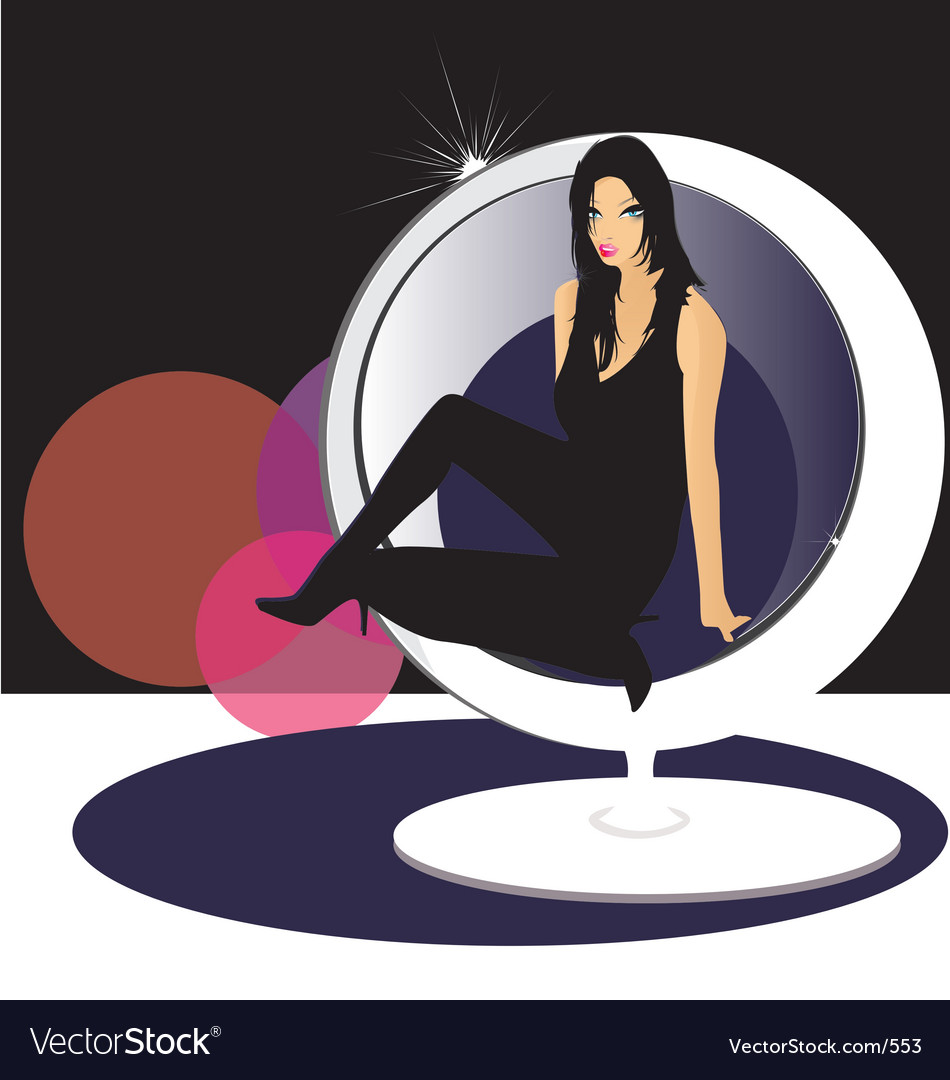 Miss candi in egg chair vector | Price: 3 Credit (USD $3)