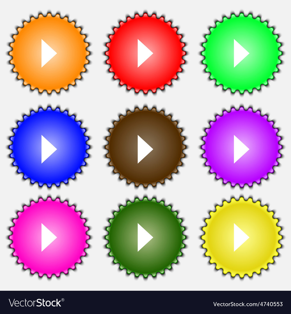 Play button icon sign a set of nine different vector   Price: 1 Credit (USD $1)