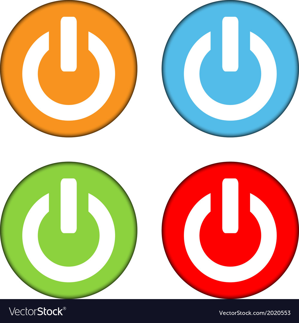 Power sign button set vector | Price: 1 Credit (USD $1)