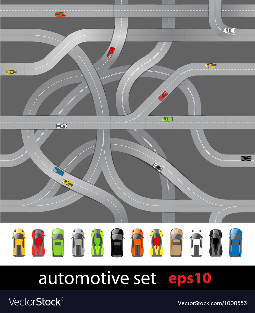 Roads and car collection vector   Price: 1 Credit (USD $1)
