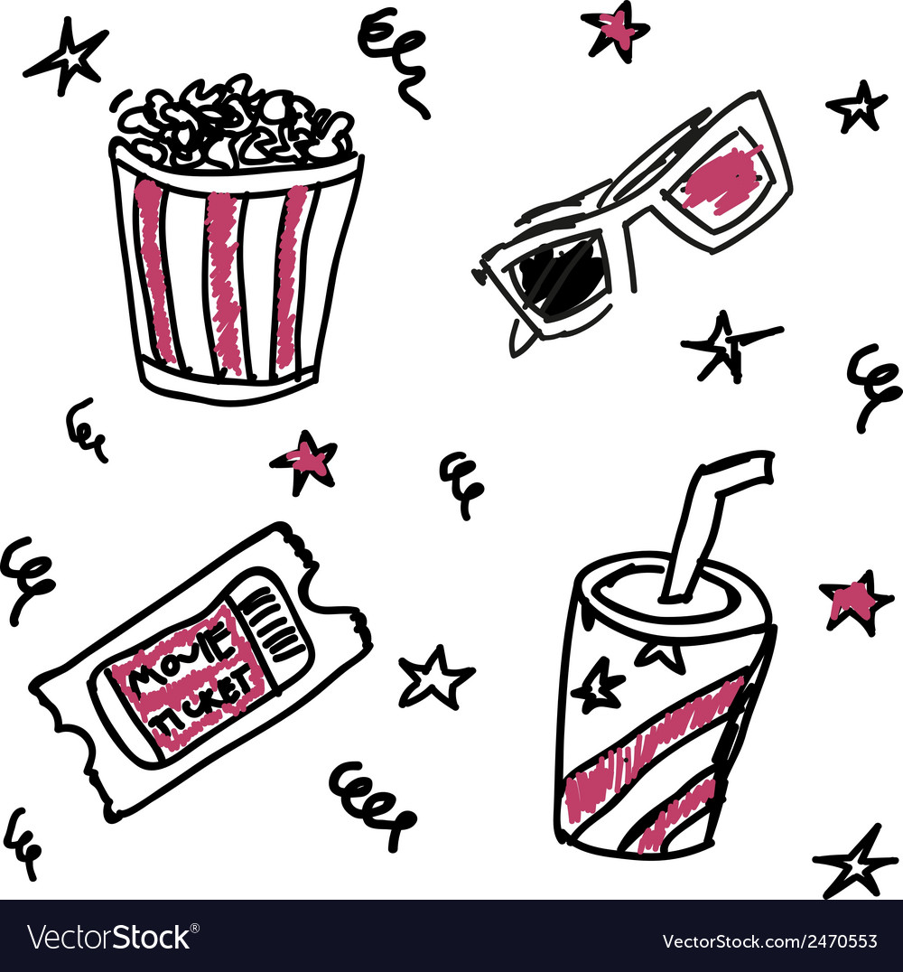Set of doodle cinema icons vector | Price: 1 Credit (USD $1)
