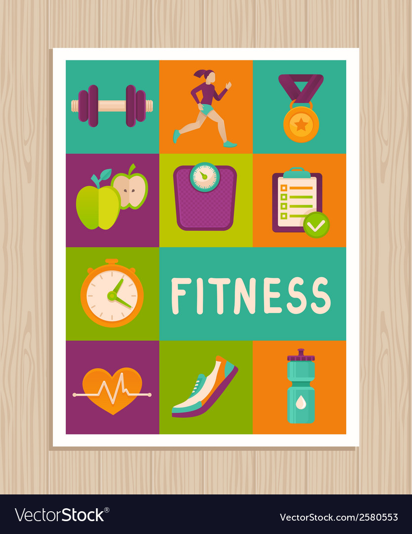 Set of fitness icons on greeting card vector | Price: 1 Credit (USD $1)