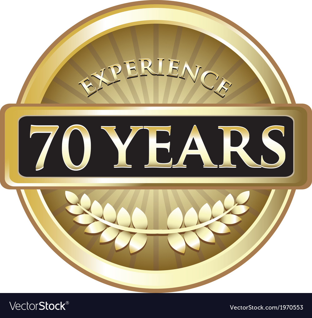 Seventy years experience gold vector | Price: 1 Credit (USD $1)