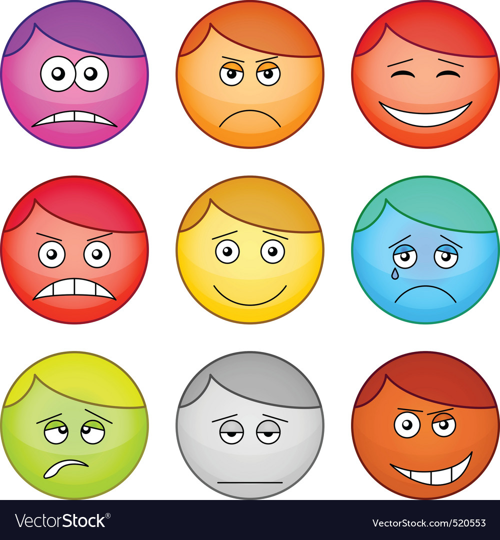 Smilies round set vector | Price: 1 Credit (USD $1)
