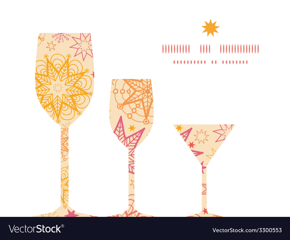 Warm stars three wine glasses silhouettes pattern vector | Price: 1 Credit (USD $1)