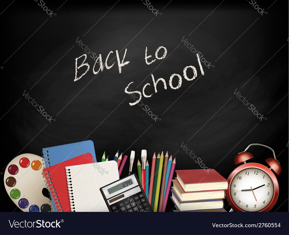 Back to school chalkboard with school supplies vector | Price: 1 Credit (USD $1)