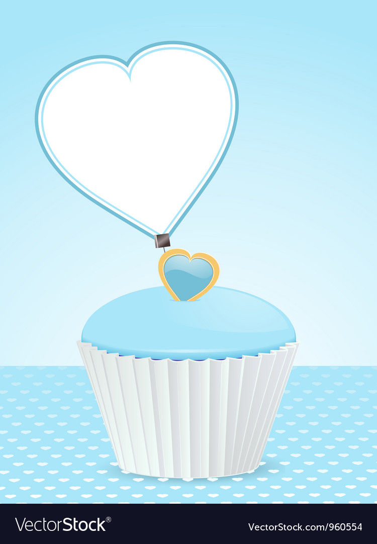 Blue cupcake background and message label vector | Price: 1 Credit (USD $1)
