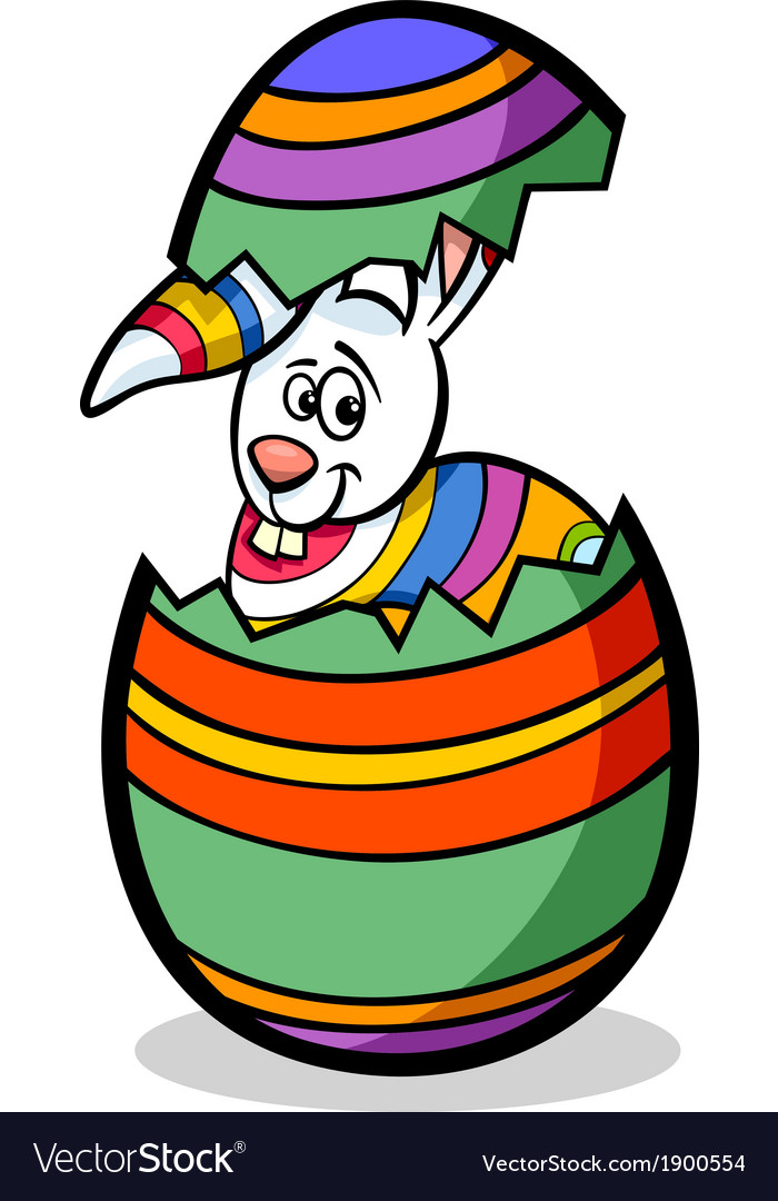 Bunny in easter egg cartoon vector | Price: 1 Credit (USD $1)