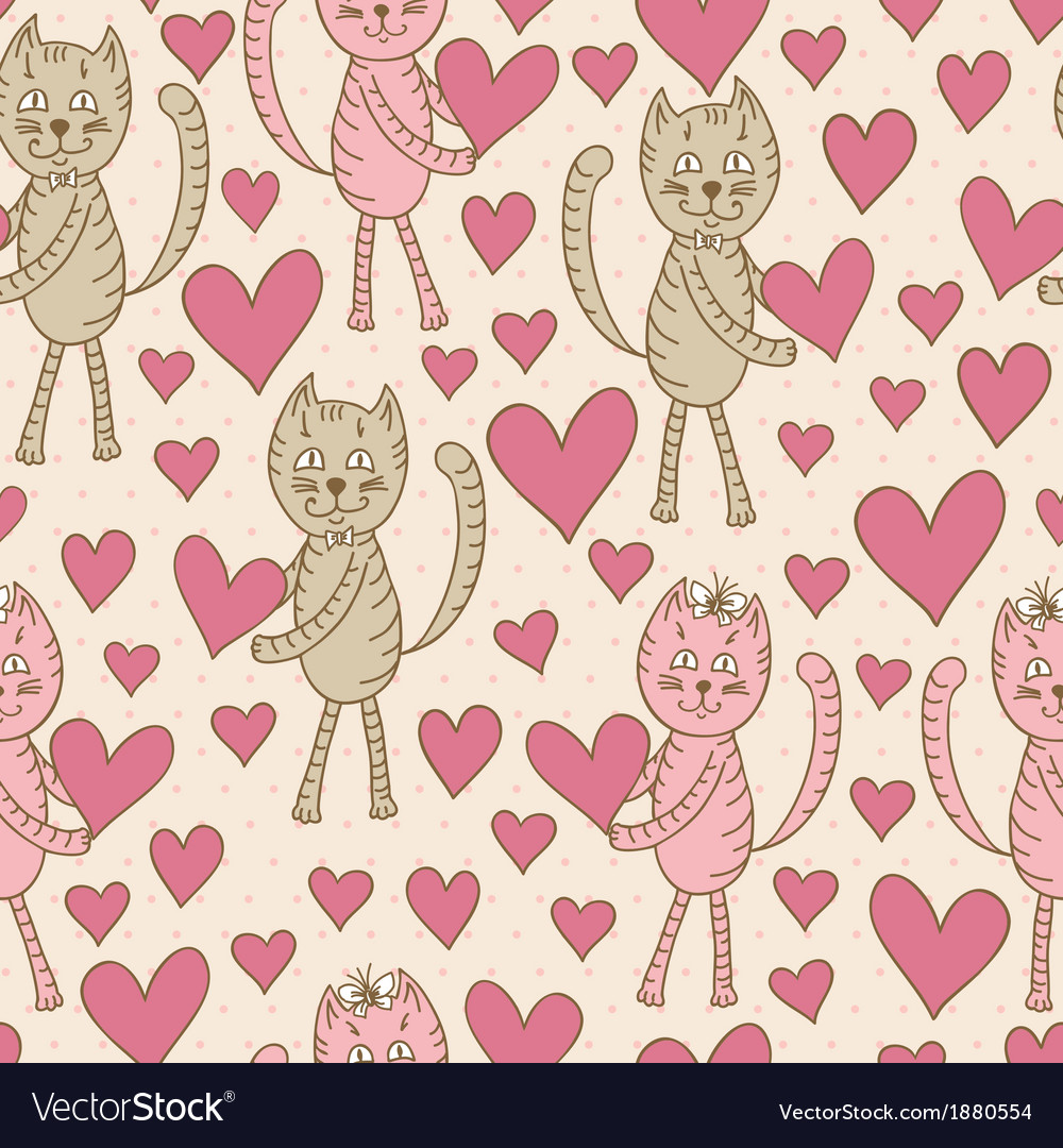Cats with hearts seamless pattern vector   Price: 1 Credit (USD $1)
