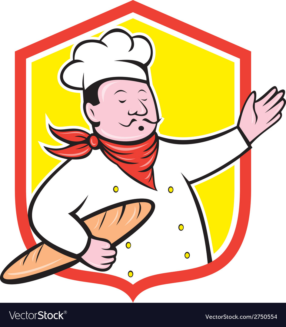 Chef cook holding baguette shield cartoon vector | Price: 1 Credit (USD $1)