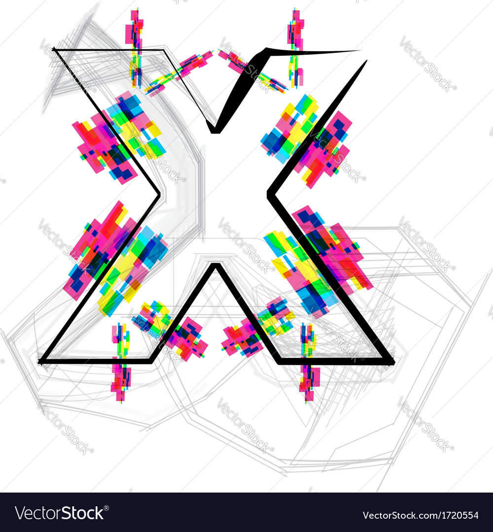 Colorful font - letter x vector | Price: 1 Credit (USD $1)