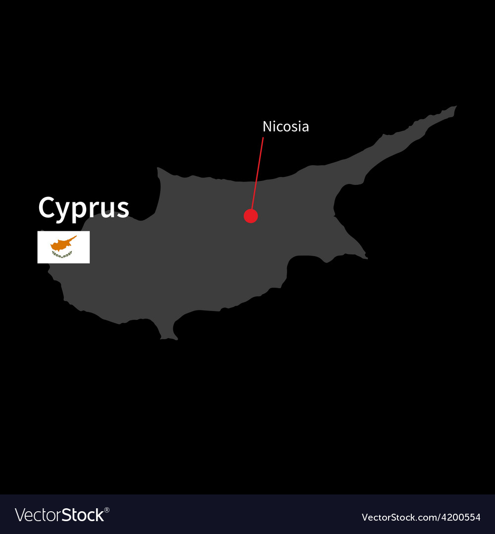 Detailed map of cyprus and capital city nicosia vector | Price: 1 Credit (USD $1)