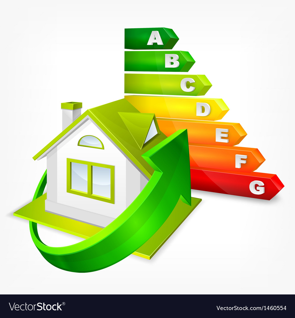 Energy efficiency rating with arrows and house vector