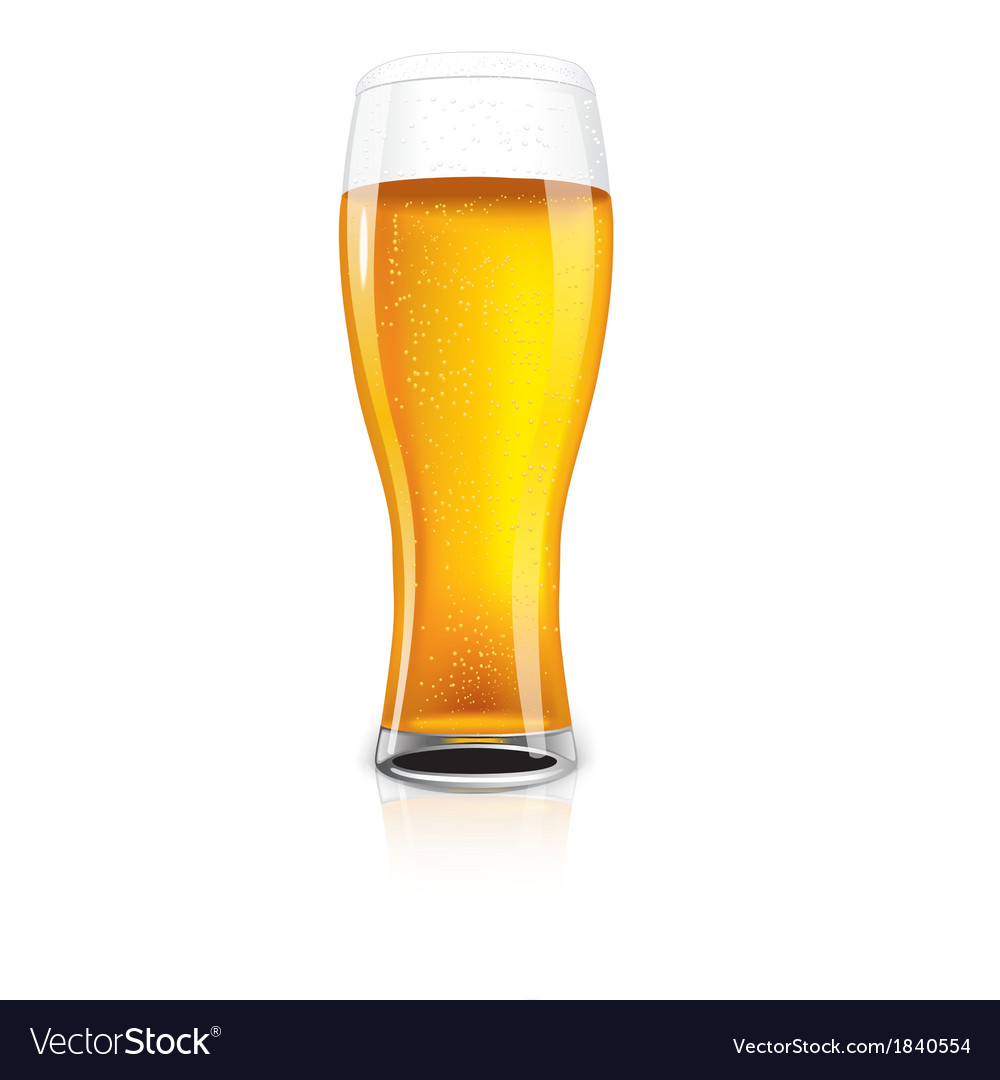 Excellent isolated glass of beer with drops vector | Price: 1 Credit (USD $1)